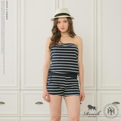 ROUSH 女生美式橫紋平口連身褲裝 (2色)