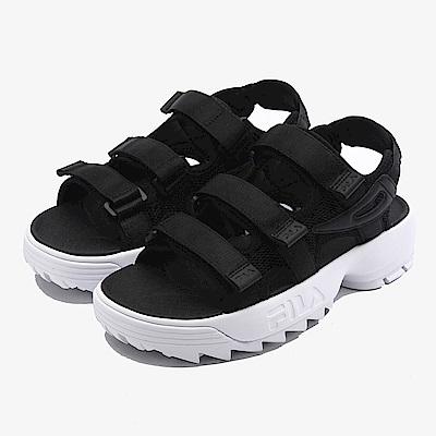 FILA 中性款DISRUPTOR鋸齒厚底涼鞋-黑 4-S134S-013