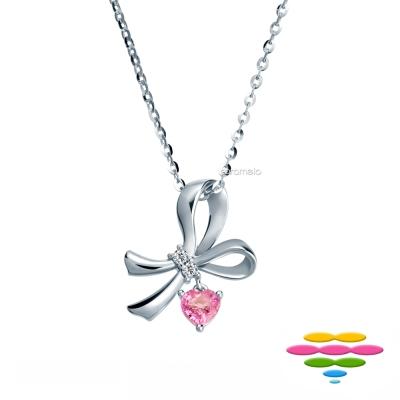 彩糖鑽工坊 日本10K 愛心粉紅寶石&鑽石項鍊 蝴蝶結項鍊 蘿莉塔系列