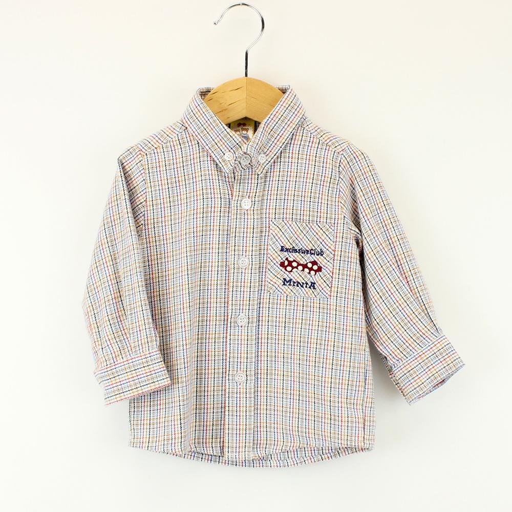 愛的世界 MYBABY 純棉磨毛長袖襯衫/6~12歲