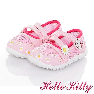 HelloKitty花朵系列 輕量透氣抗菌防臭休閒娃娃童鞋-粉