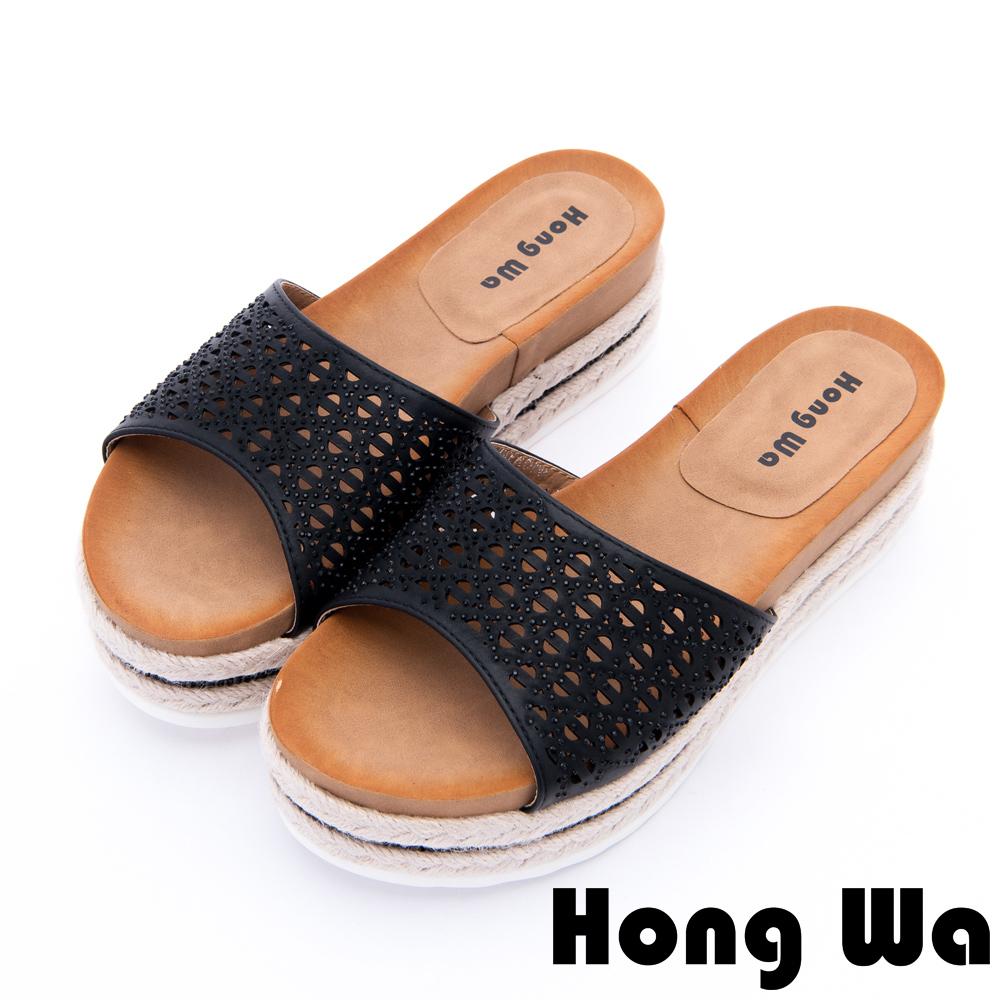 Hong Wa 夏日清涼水鑽沖孔厚底拖鞋-黑