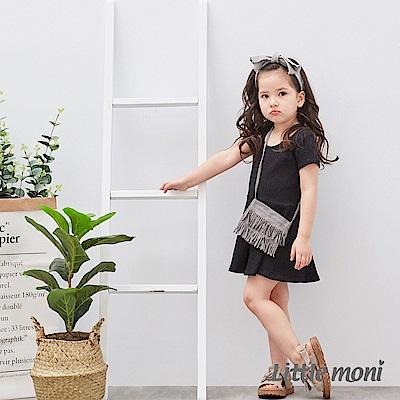 Little moni 雙面穿圓領露背洋裝 (2色可選)