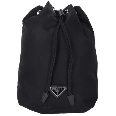 PRADA 經典三角牌尼龍束口隨身袋(黑色)