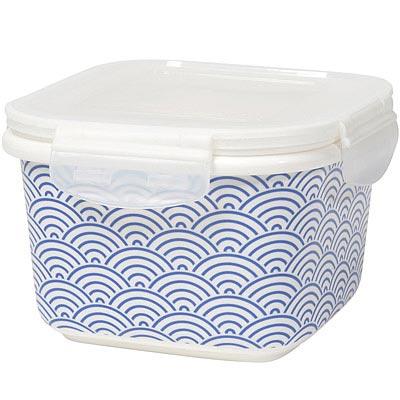 NOW 瓷製方型密封盒(浪花藍6吋)