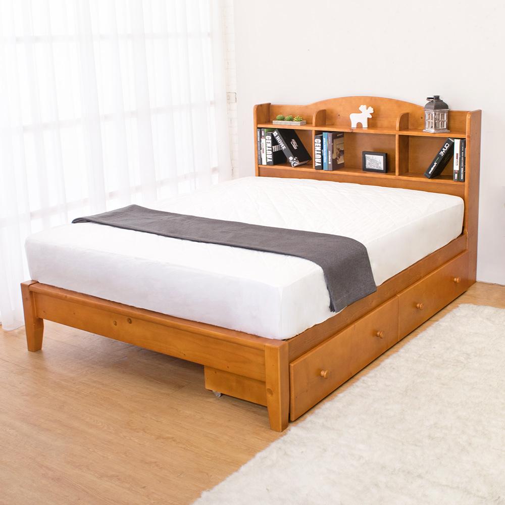 Boden-克查5尺實木書架雙人床架-抽屜型