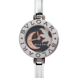 BVLGARI 寶格麗B.ZERO1系列日月圖案鑲鑽精鋼手環式石英女仕腕錶(黑-22mm)