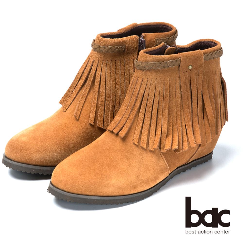 bac摩登好萊塢 時尚流蘇平底短靴-棕色