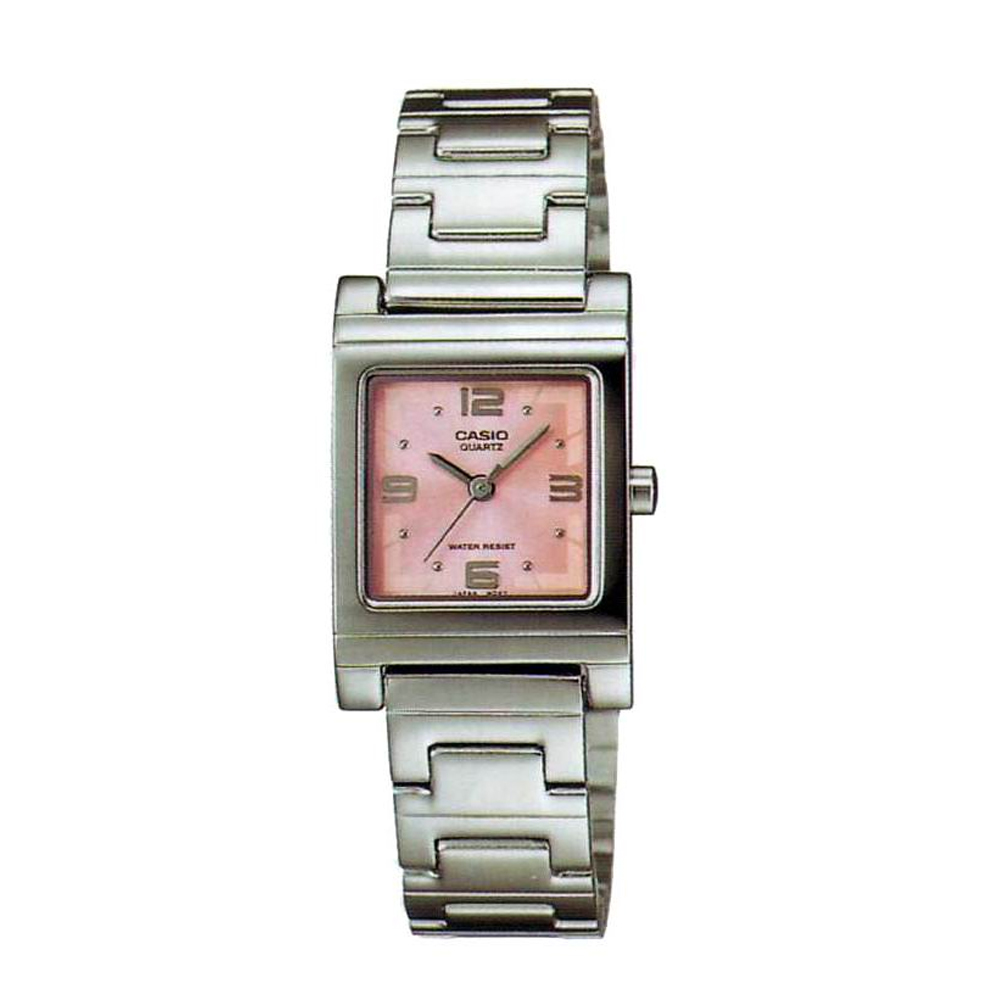 CASIO  方采水晶知性女錶腕(LTP-1237D-4A)-粉紅/25mm