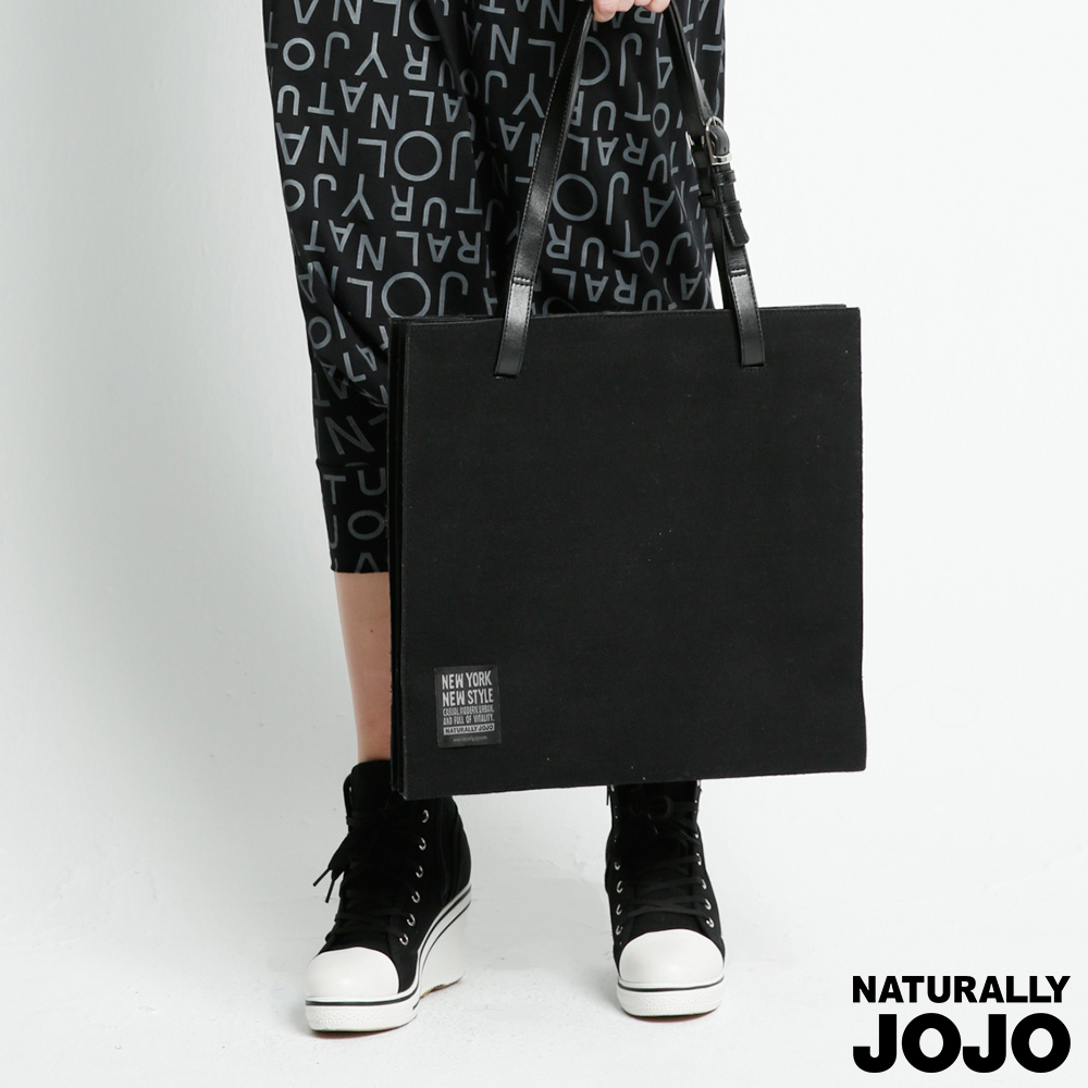 NATURALLY JOJO 羊毛料側肩背包(黑)