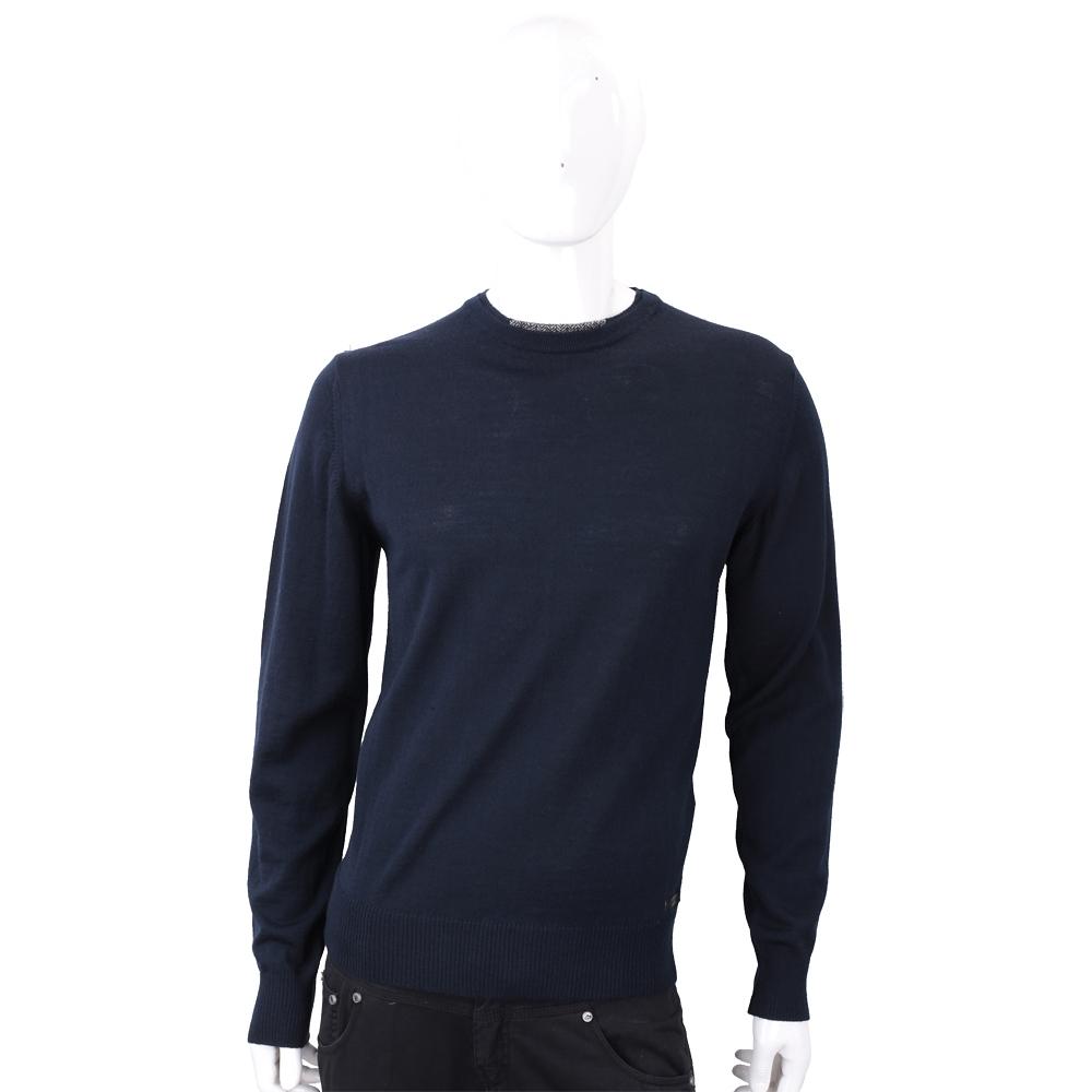 TRUSSARDI 混色領口細節深藍針織羊毛衫