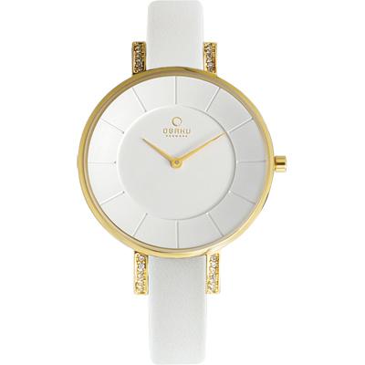 OBAKU 采耀時刻晶鑽時尚腕錶-金色/34mm