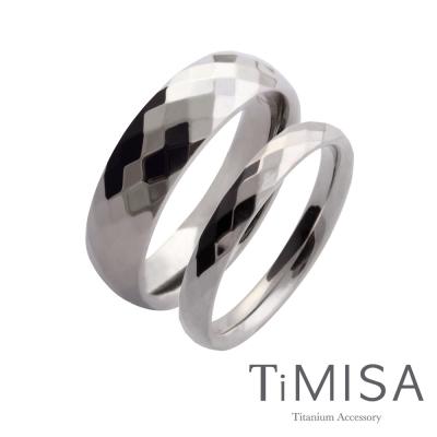 TiMISA《格緻真愛(寬+細銀)》純鈦對戒