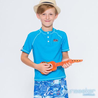 澳洲Sunseeker泳裝抗UV防曬立領短袖泳衣-大男童上衣/淺藍