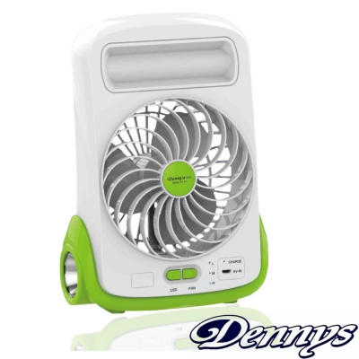 Dennys <b>5</b>吋充電式LED燈迷你風扇(FN-510)-綠色