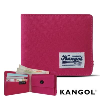 KANGOL 韓式潮流 多夾層/零錢袋橫式短皮夾+鑰匙圈禮盒-帆布桃紅