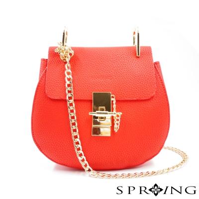 SPRING-法式香榭荔枝紋真皮鍊包-紅
