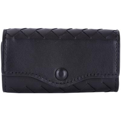 BOTTEGA VENETA INTRECCIATO 小羊皮編織鑰匙包(小/黑色)