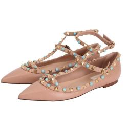 VALENTINO Rockstud 鉚釘繫帶荔紋平底尖頭鞋(駝色)