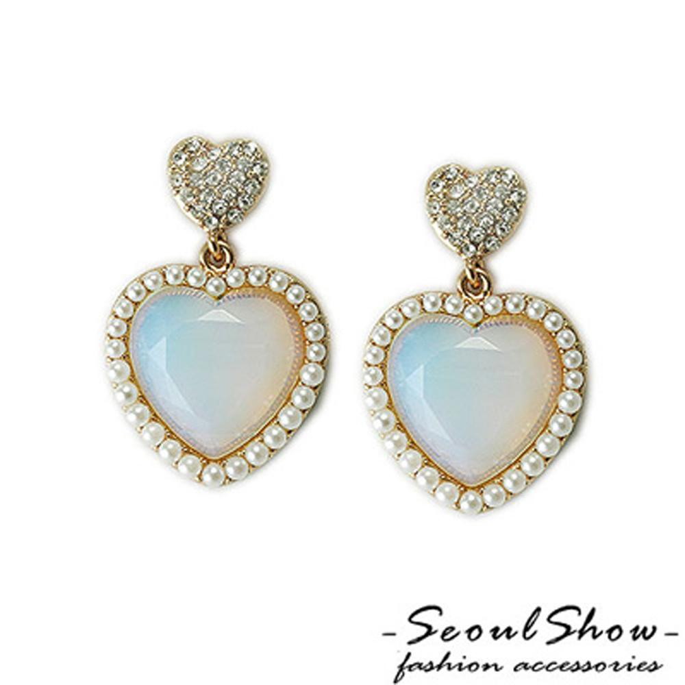 【Seoul Show】玻璃心 珍珠奧地利水晶針式耳環