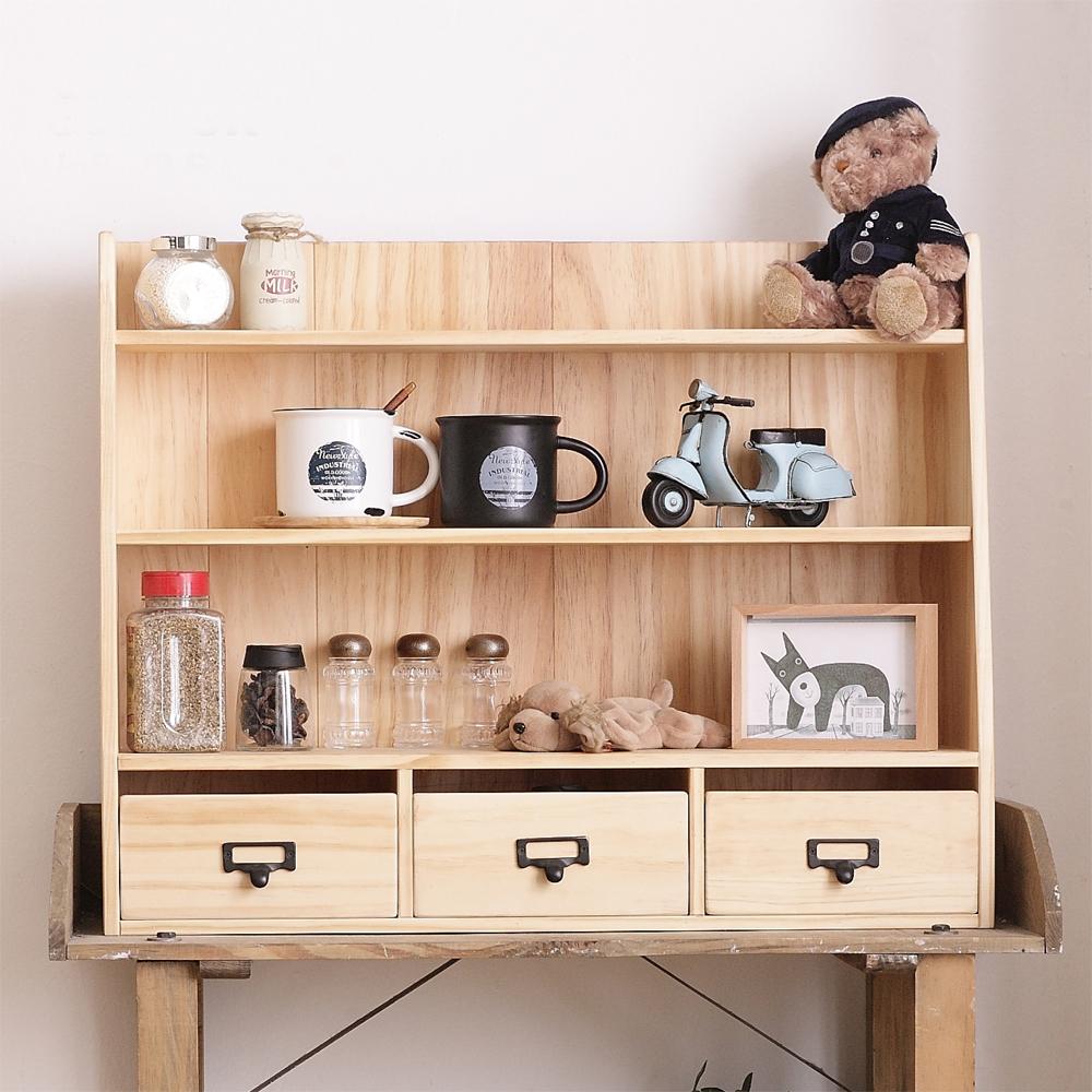 CiS自然行實木家具 三層置物-三抽-經典雜貨櫃M款-扁柏自然色