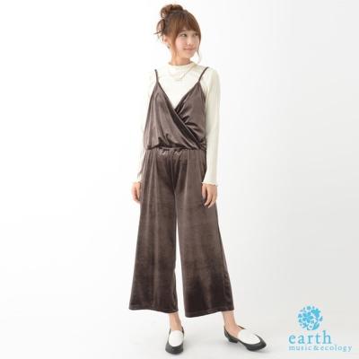 earth-music-絲絨Y字收腰吊帶背心連身褲