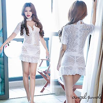 情趣睡衣 深V透視蕾絲上衣迷你裙水鑽頸環套裝(共二色)-天使波堤