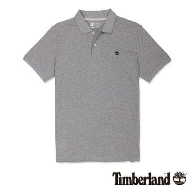 Timberland-男款淺灰色素面刺繡短袖Pol