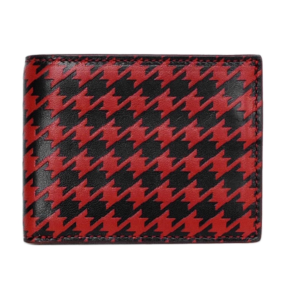 COACH紅黑千鳥紋全皮三卡短夾COACH