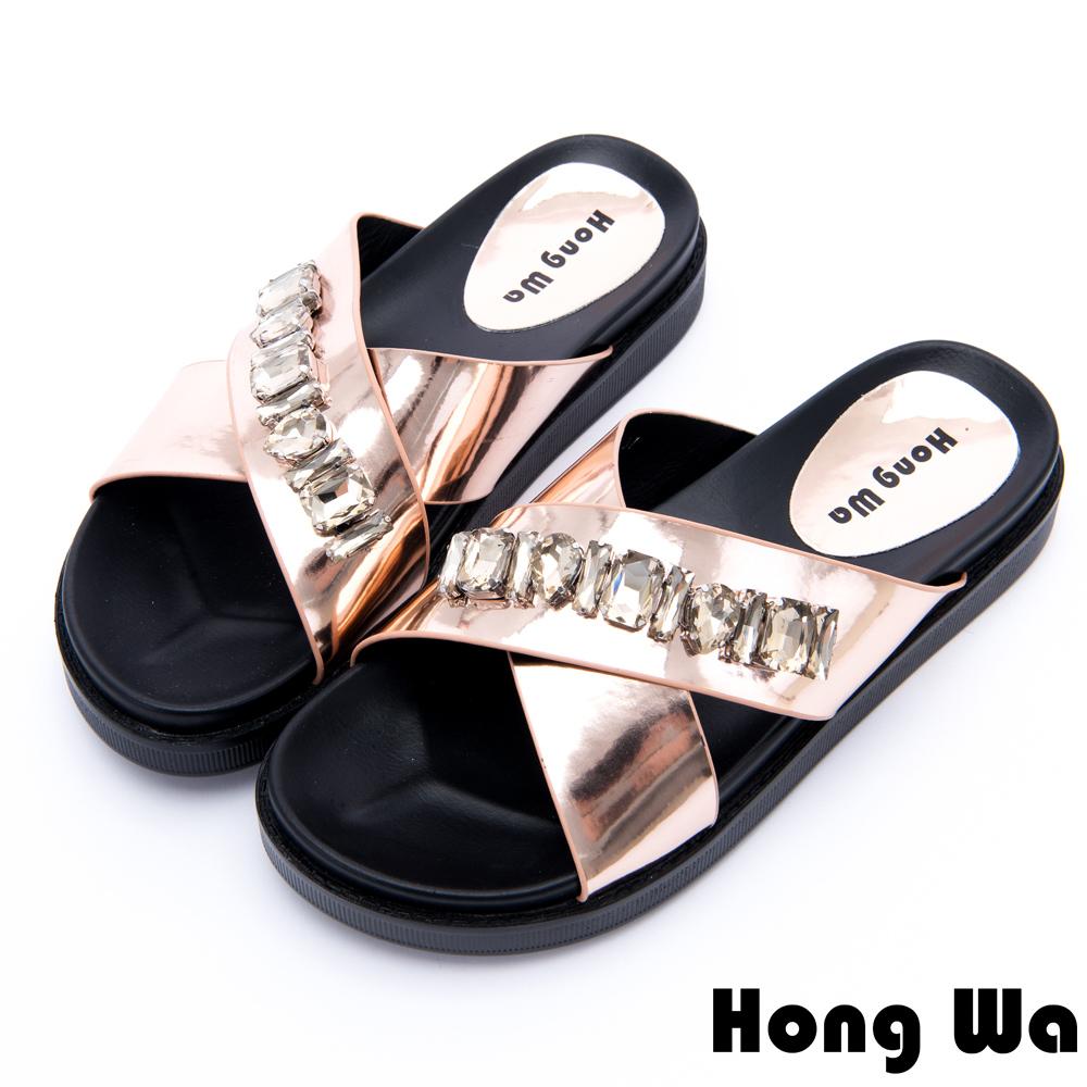 Hong Wa - 時尚派對風水鑽貼飾厚底拖鞋 - 金