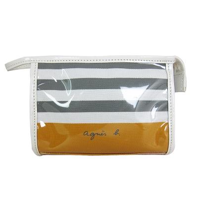 agnes b.透明條紋拉鍊化妝包(黃)