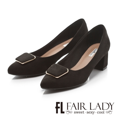 Fair Lady 優雅小姐Miss Elegant 基本款方釦裝飾麂皮粗跟鞋 黑