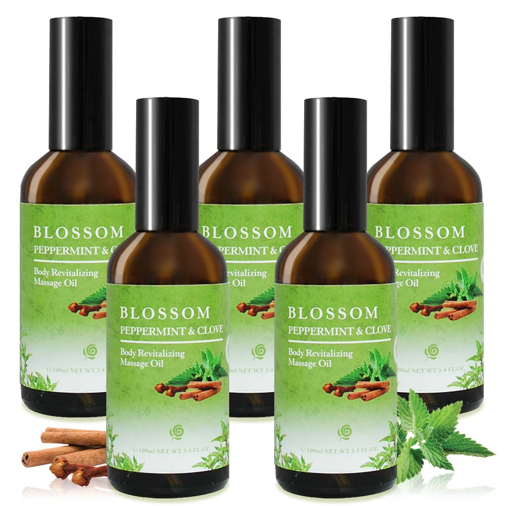 BLOSSOM 薄荷丁香舒緩賦活彈力按摩油(100ML/瓶)X5件組