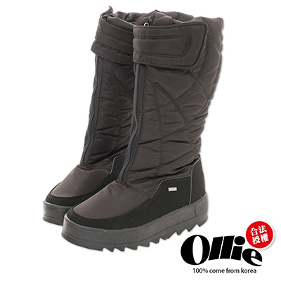 Ollie韓國空運-正韓製尼龍防潑水冰爪厚底長筒靴-黑