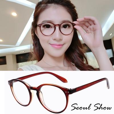 Seoul-Show-復古文青-圓框造型-平光眼鏡-8006茶色