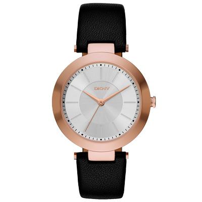 DKNY 曙光派對時尚皮錶帶-玫瑰金x黑/35mm
