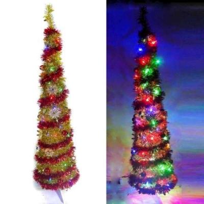 6尺(180cm)彈簧摺疊金色哈利葉瘦型鉛筆樹聖誕樹(+LED100燈四彩光+紅系飾品)