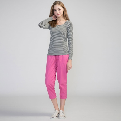 GIORDANO-女裝棉質素面抽繩七分褲-33桃紅