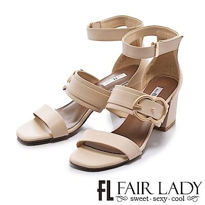 Fair Lady 金屬釦環腳踝繞帶粗跟涼鞋 米