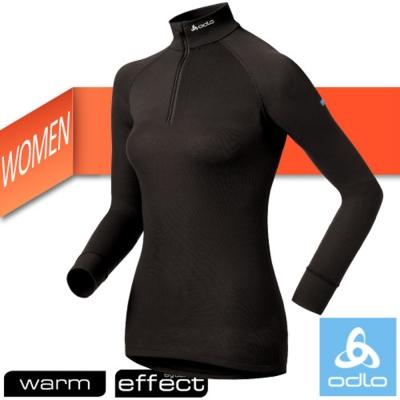 【瑞士 ODLO】WARM EFFECT 女高領半門襟專業機能型銀離子保暖內衣/黑
