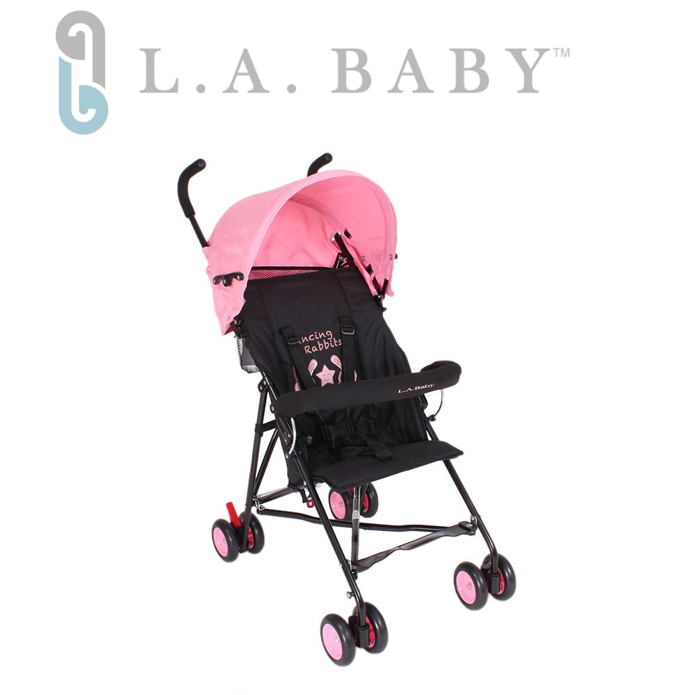 (美國 L.A. Baby)亮彩輕便嬰兒手推車(浪漫粉)