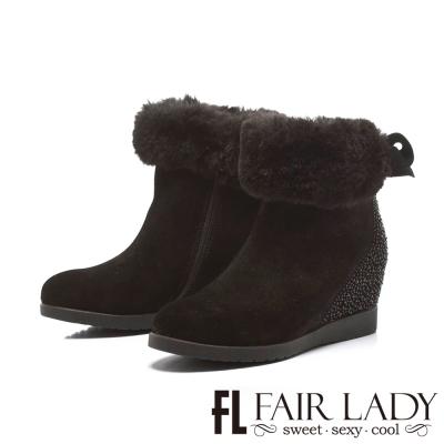 Fair Lady 絨毛拼鑽後蝴蝶結內增高短靴 黑