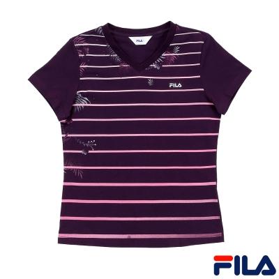 FILA基本款V領純棉T恤5TEQ-1515-DP