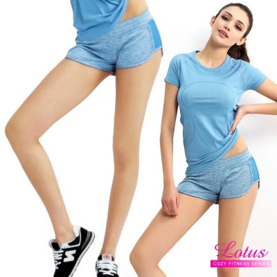 運動褲-糖霜馬卡龍立體翹臀後口袋運動短褲-藍