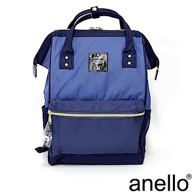 日本正版anello 經典口金後背包 深藍拼接 L