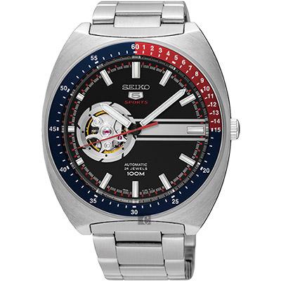 SEIKO精工 <b>5</b>號尊者鏤空機械腕錶(SSA329J1)-黑/44mm