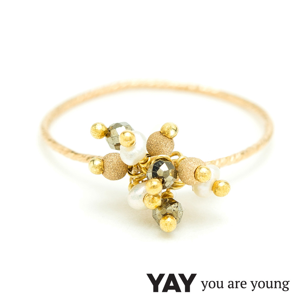 YAY You Are Young Frida 寶石花束戒指 立體款 白珍珠X星辰豆豆