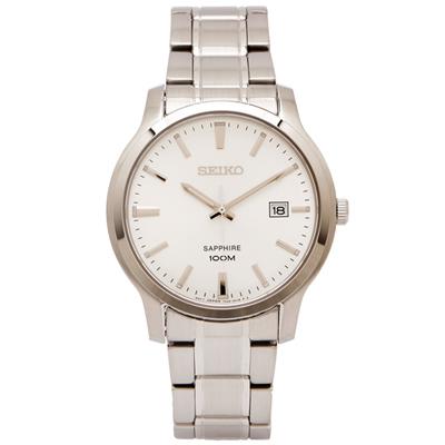 SEIKO 極簡紳士風藍寶石鏡面手錶(SGEH39P1)-銀面X銀色/40mm