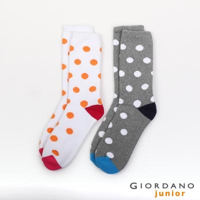 GIORDANO 撞色圓點圖案加厚中長筒襪 - 25 粉紅/中花灰