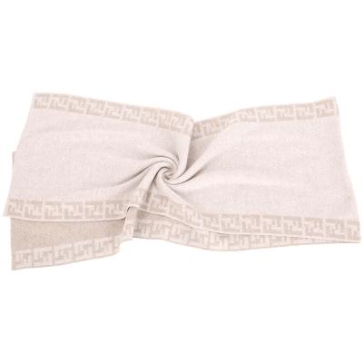 FENDI 卡其色雙F織紋滾邊羊毛圍巾(100%WOOL)